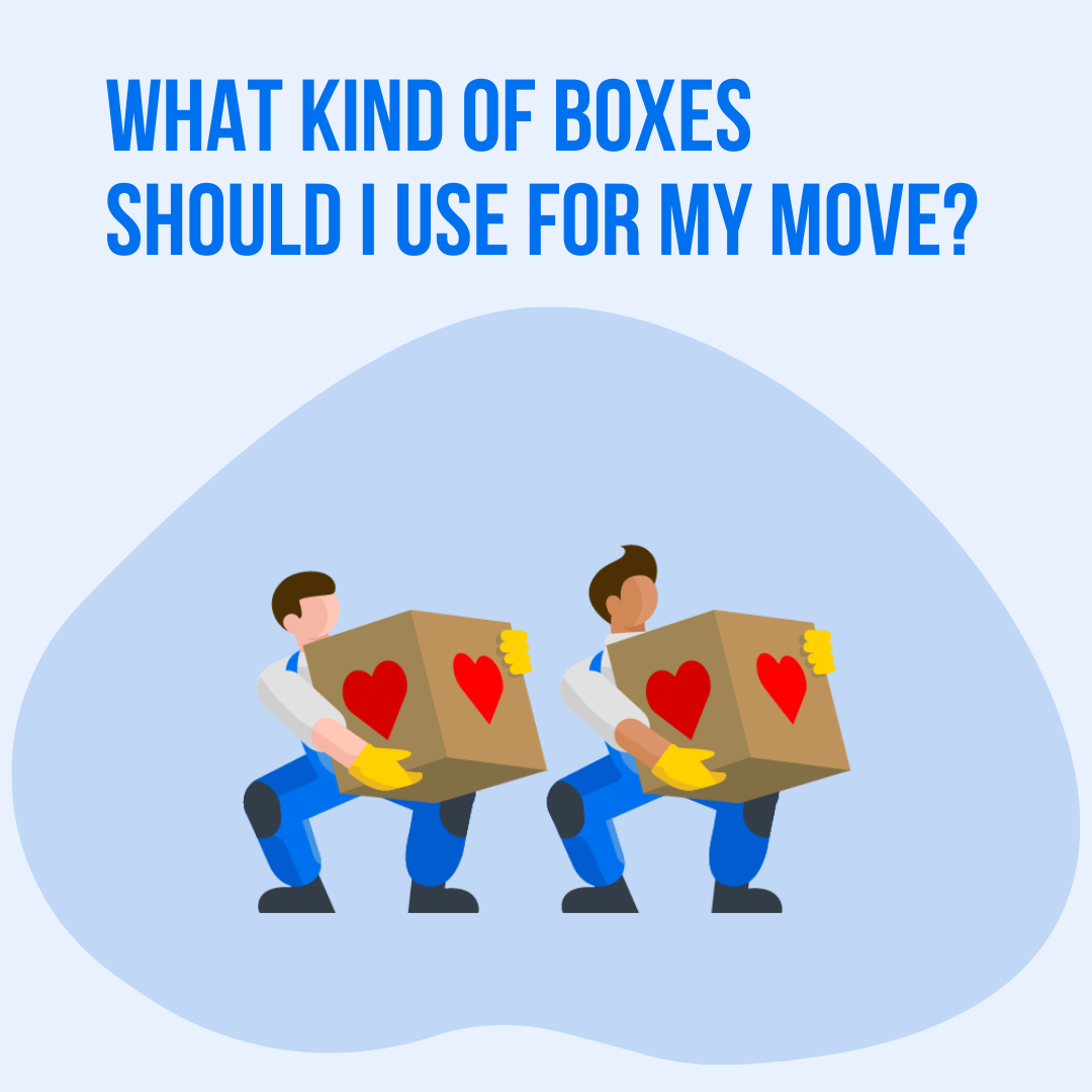 "Two cartoon movers carrying boxes with title ""What Kind of Boxes Should I Use for My Move?"""
