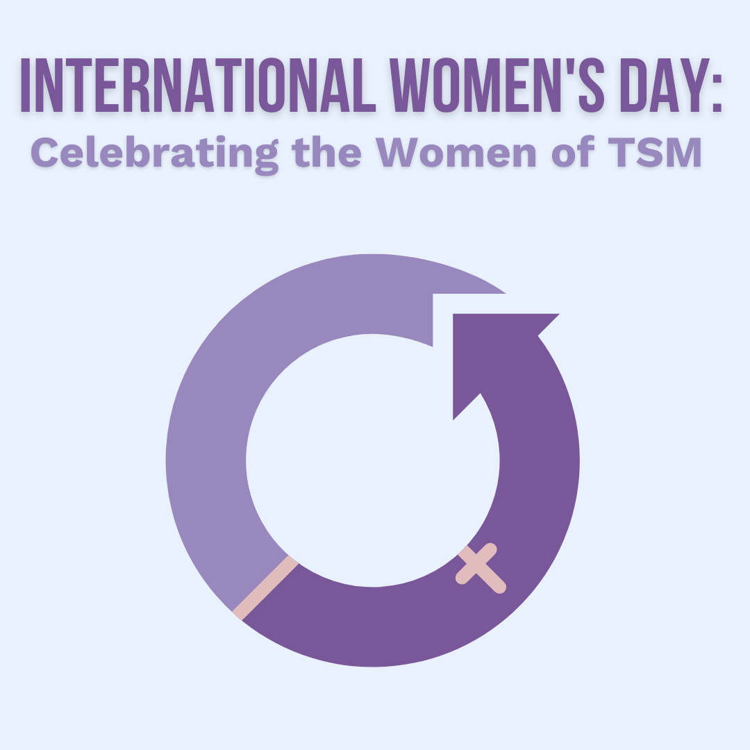 Graphic design image with text: International Women's Day: Celebrating the Women of Two Small Men, with the International Women's Day logo