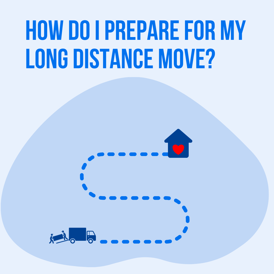 "Graphic design image with text ""How Do I Prepare for my Long Distance Move?"" Cartoon house, cartoon truck with movers and furniture"